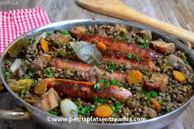 cuisiner des saucisses lentilles aux saucisses et au lard petits plats entre amis
