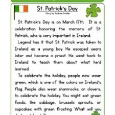 ideas of st patricks day reading comprehension worksheets with