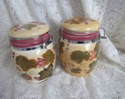 grape canister sets kitchen vintage kitchen canisters etsy