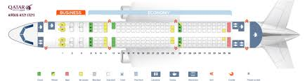 Qatar Airways Route Map by Seat Map Airbus A321 200 Qatar Airways Best Seats In The Plane