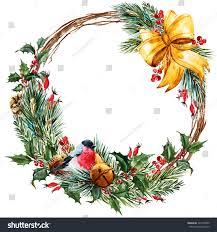 watercolor christmas wreath fir branches christmas stock