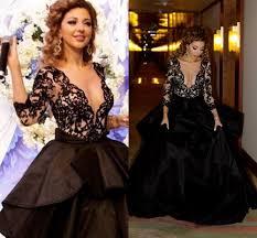 black deep v neck 2017 dresses evening wear long sleeve myriam