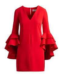 milly nicole double ruffled bell sleeve cocktail dress