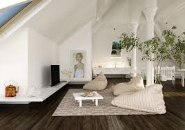 the artistic style for unique living room in the sloped ceiling