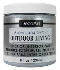 decoart americana decor outdoor living paint 8 oz metallic silver