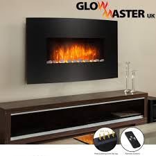 black glass electric fireplace fire slim curved wall mounted