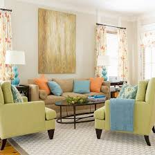 green living rooms blue orange open floor and neutral