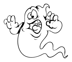 frightened ghost cartoon halloween vector illustration royalty