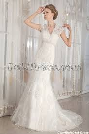 modest lace illusion back wedding dresses with cap sleeves 1st