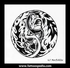 wolf and cougar yin yang tattoo design photos pictures and