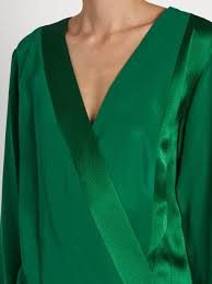 green silk blouse diane furstenberg crossover silk blouse womens green clothing