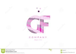 gf g f alphabet letter logo pink purple line icon template vecto