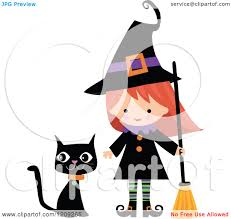 cartoon of a cute halloween witch with a broom and black cat