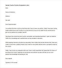 teacher resignation letter template 14 free sample example
