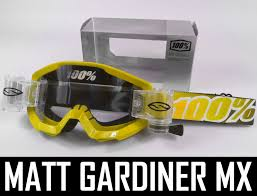 100 percent motocross goggles 100 percent strata motocross goggles yellow with smith roll off