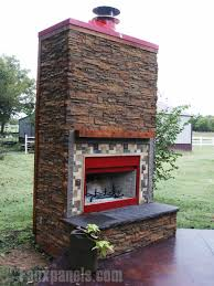 Stacked Stone Outdoor Fireplace - easy beautiful fireplace veneers creative faux panels