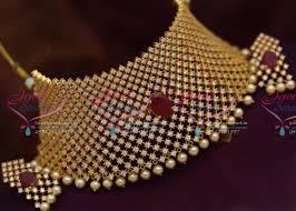 wedding jewelry choker necklace images Ch3604 cz white ruby broad big choker set grand wedding jewellery JPG