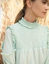 mint blouse mint ruffled mock neck blouse pixie market