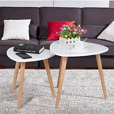 side table set of 2 yaheetech white gloss wood nesting tables living room sofa side end