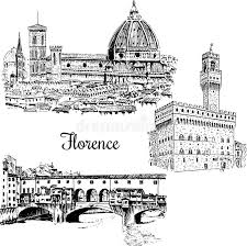 set of florence ponte vecchio bridge in italy vector hand drawn