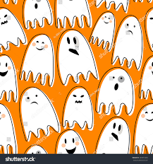 halloween background ghosts cute spooky ghosts on orange background stock vector 323673320