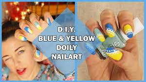 d i y blue and yellow doily nailart nailart fai da te effetto