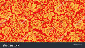 hohloma red gold colors seamless pattern stock vector 604662182
