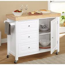 new white kitchen island wooden cart rolling butcher block cutting