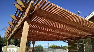 Pergola Rafter End Designs by What Is Max Distance Between Posts Using 2x12x20 Foot Beams For A