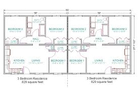 2 Bedroom Floor Plans Ranch by Basic For Duplex Guest House 6 Bedrooms Total Duplex 28x60 3