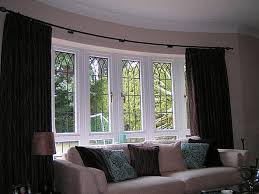 living room window treatments for bay window in living room home