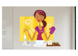 en cuisine stickers mural collant conchita femme en cuisine coloré et sympa