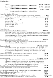 funeral homes prices general price list