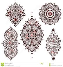set of beautiful indian ethnic ornaments folk henna styl