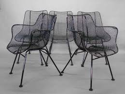 Wrought Iron Mesh Patio Furniture by Six Wrought Iron With Mesh Dining Chairs By Russell Woodard For