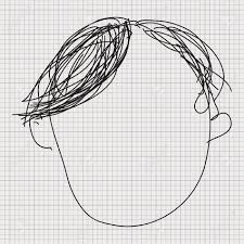 simple doodle sketch of a hair style on graph paper background