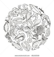 vector line sketches fish seafood lemon stock vector 461252530