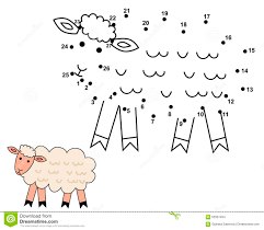 connect the dots to draw the cute sheep stock vector image 63357404