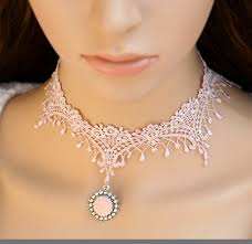 vintage lace necklace images Pink vintage lace choker necklace for women personalized necklace jpg