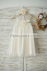 boho beach champagne tulle wedding flower dress with bow