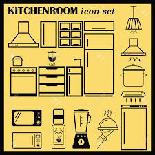 home interior design icon kitchen icon dining icon set vector