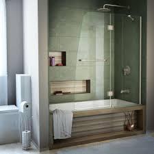Tub With Shower Doors Dreamline Aqua 48 In X 58 In Semi Frameless Pivot Tub Shower