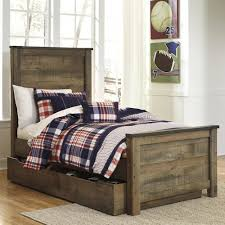 Twin Bed With Storage Signature Design By Ashley Trinell Rustic Look Twin Panel Bed With