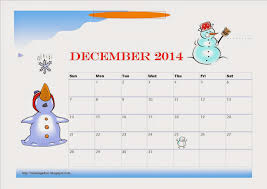 free printable december 2014 calendar for kids snowman design