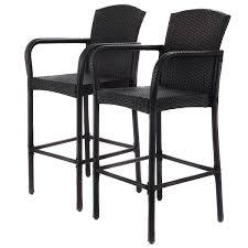High Patio Chairs 2 Pcs Rattan Wicker High Counter Chair Armrest Bar Stool Outdoor