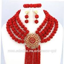 Adaku Beaded Red Coral Chandelier New Latest Design African Nigerian Beaded Necklaces Party Bridal