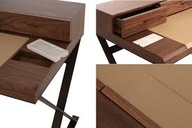 bureau bois design contemporain decoration bureau bois piètement métallique accents cuir marbre