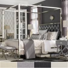 Metal Canopy Bed Solivita Chrome Metal Canopy Bed With Tufted Headboard By Inspire