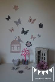 stickers papillon chambre bebe stickers cage à oiseaux papillons fleurs et oiseaux poudré et