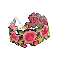 rose flower necklace images Cheap array fashion retro handmade embroidered floral choker jpg